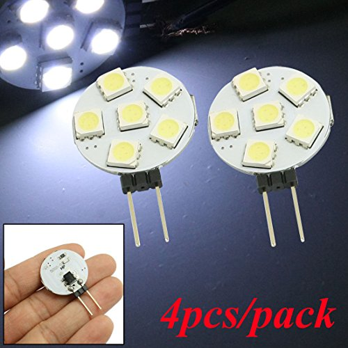 (Pack of 4) High Bright Side Pin G4 LED Bumb, 5050 6-SMD 2W DC 12V Cool White LED Light Bulb for Reading, Car, Marine, RV, Cabinet, Decorative (2w Accent Led)
