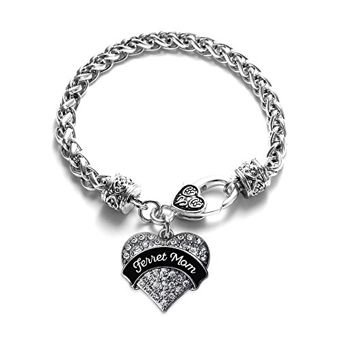 (Inspired Silver - Black and White Ferret Mom Braided Bracelet for Women - Silver Pave Heart Charm Bracelet with Cubic Zirconia Jewelry )