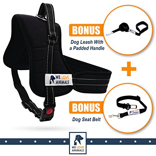 Padded-Dog-Harness-Set-No-More-Struggling-Easy-Full-Control-With-a-Durable-No-Pull-Harness-Comfortable-for-Your-Pet-Black-X-Large-Reflective-Washable-Includes-a-Leash-and-a-Car-Seat-Belt