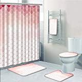 Hexagon Pink Multi Shower Curtain Bathroom 5 Piece Set shower curtain 3d print Multi Style,Light Pink,Hexagon Forms Linked Abstract Beehive Gradient Toned Creative Image Decorative,Coral Peach Hot Pink,Bath Mat,Bathroom Carpet Rug,Non