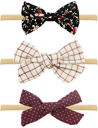 Baby Girl Headbands and Bows, Assorted 3 Packs of Bow-Stretch Headband for Newborn Toddler -