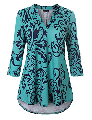 (Acloth Womens Pleated Flare Blouse V-Neck 3/4 Sleeve Floral Tunic Top to Wear with Legging (3/4 Sleeve Flower Turquoise, Large))