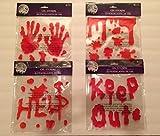 Halloween Bloody Drip Splatter Window Gel Clings - Pack of 4 by Gel Stickers