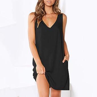 Deloito seksowna damska sukienka bez rękawÓw, na imprezę, jednokolorowa, z kieszenią: Odzież