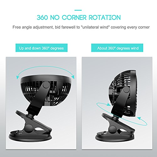 70OFF Portable Rechargeable FanBattery Operated Stroller Fan360Rotation Clip