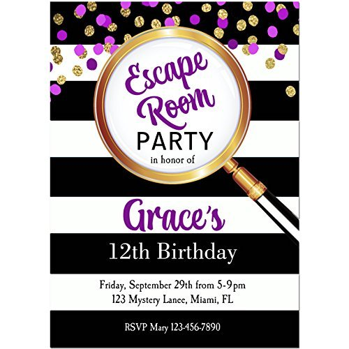 Purple Escape Room Invitations with ANY Wording Printed or Printable - Escape room, mystery, party Invitation - Glasses Printable Invitations