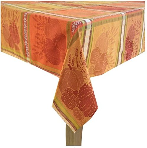 Celebrate Fall Together Pumpkin Jacquard Tablecloth -60in x 84in Oblong