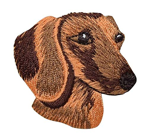 Dachshund Dog Patch - Dachshund Head - Dog - Pets - Doxie - Iron on Embroidered Patch Applique
