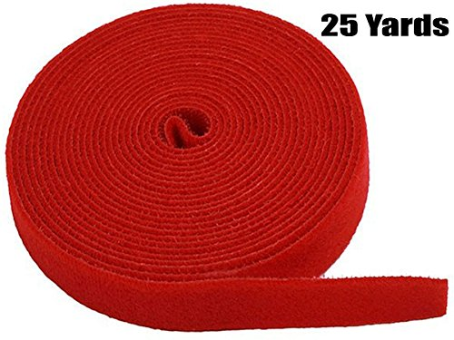 (iMBAPrice Red Cable Fastening Tape - 0.75 inch Single Wrap Hook & Loop (75 feet) 25 Yards Long)