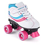 Toyrific Girl's Disco Retro Roller Skates - White/blue/pink/black, Size 11