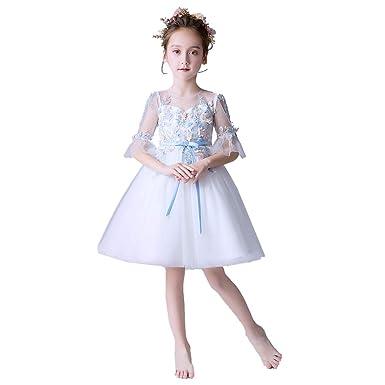 687fb39065c5b Weileenice® 子供 ドレス フォーマル フラワー 刺繍 チュール リボン 膝丈 プリンセス フォーマル コスプレ コスチューム 発表