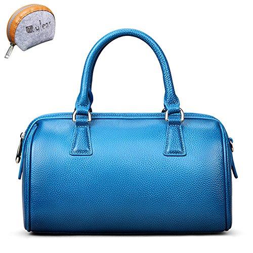 Myleas 2W-ST5646 Damen Retro Echtes Leder Henkeltasche Handtasche Schultertasche Shopper mit Schultergurt Blau 1Zpi9FUP