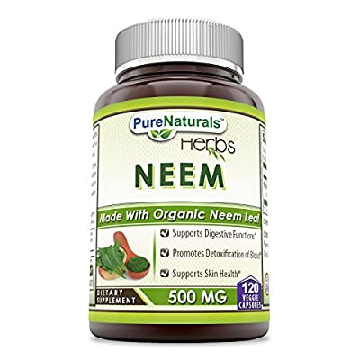 Pure Naturals Neem (Made with Organic Neem Leaf) 500 mg, 120 Veggie Capsules -Supports Digestive Functions* -Supports Skin Health* -Promotes Detoxification of Blood*