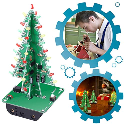 Diy Christmas Projects (IS ICStation DIY 3D Xmas Tree Soldering Practice Electronic Science Assemble Kit 3 Color Flashing LED PCB Solder)