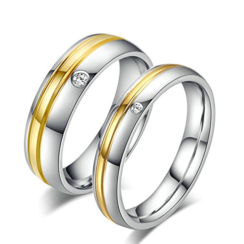 [Bishilin Titanium Steel 18K Gold Plated His and Hers Wedding Rings Set(Price for 1pc)] (Arab Money Costume)