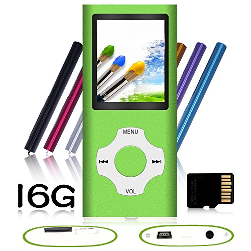 Tomameri – Portable MP3 / MP4 Player with Rhombic Button, Including a Micro SD Card and Support Up to 64GB, Compact Music, Video Player, Photo Viewer Supported,Black-and-Green
