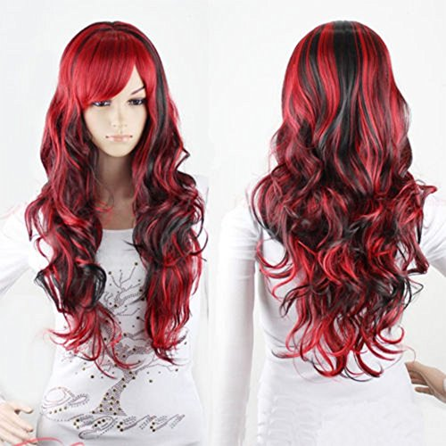 Red And Black Wig (Netgo Anime Cosplay Wigs Red for Women with Obligue Band Long Curly Hair Wigs Lolita Style Wigs)