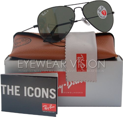 Ray-Ban RB3025 Aviator Polarized Sunglasses Black/Crystal Green (002/58) RB 3025 58mm (58 3025 002 Aviator)