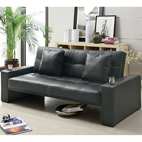 Coaster Sofa Bed (Box 1)-Black - Black Vinyl Futon Sofa