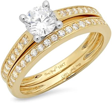 Clara Pucci 1.4 Ct Round Cut Pave Halo Bridal Engagement Wedding Anniversary Ring Band Set 14K Yellow White Gold