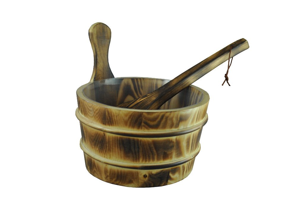 Northern Lights Group Burned Wood Sauna Bucket with Scoop Ladle & Liner by Northern Lights Group