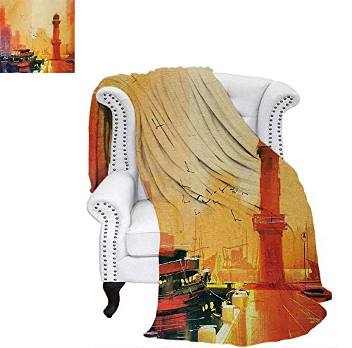 (Velvet Plush Throw Blanket Image of a Lighthouse and Fishing Boat at Sunset with Seagulls in Pastel Colors Art Throw Blanket 62