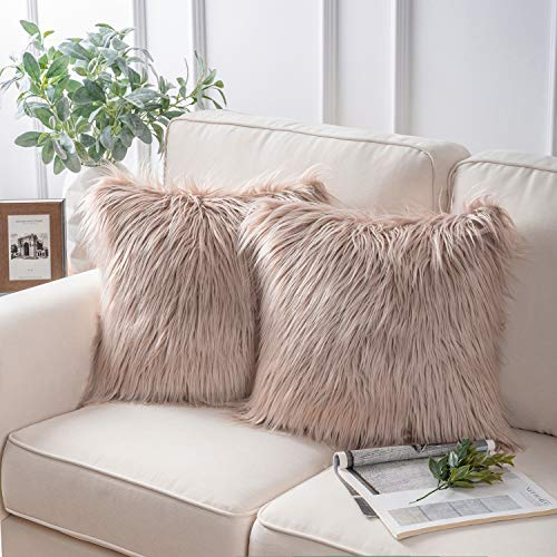 Phantoscope Pack of 2 Luxury Series Throw Pillow Covers Faux Fur Mongolian Style Plush Cushion Case for Couch Bed and Chair,Beige 18 x 18 inches 45 x 45 cm (Outdoor Market World Sectional)