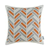CaliTime Canvas Throw Pillow Cover Case for Couch Sofa Home Decoration Striped Chevron Zigzag Geometric 18 X 18 inches Grey Orange