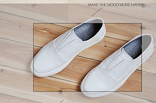 Happyshop (tm) Mens Cuir Slip Sur Mocassin Casual Plat Bas Top Chaussures De Sport Chaussures Blanc