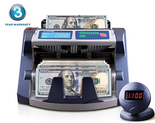 AccuBANKER AB1100PLUS Commercial Digital Bill Counter Hopper Capacity 200 Bills & Speed of 1,300 bills/min Money Counter Machine Fast & Reliable Perfect for Small/Medium Retailers