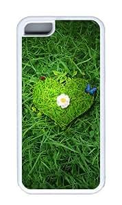 Customized Case Beautiful green heart TPU White for Apple iPhone 5C
