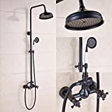 Rozin Bathroom 2 Knobs Mixer Shower Faucet Set 8-inch Rain Shower Head + Hand Spray Oil Rubbed Bronze