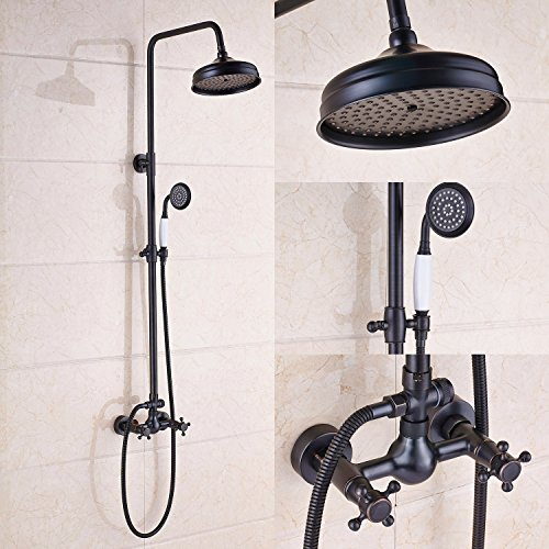 Rozin Bathroom 2 Knobs Mixer Shower Faucet Set 8-inch Rain Shower Head + Hand Spray Oil Rubbed Bronze - Shower Diverter Knob