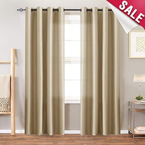 (Faux Silk Satin Curtains Bedroom 84 inch Length Window Panels Living Room Light Reducing Dupioni Drapes Window Treatment Set Grommet Top Gold Taupe 1 Pair)