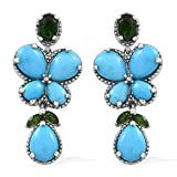 Sleeping Beauty Turquoise, Diopside Platinum Plated Silver Butterfly Dangling Earrings