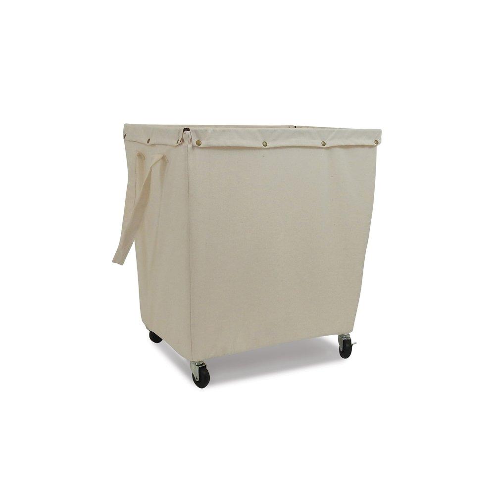Homz Heavy Duty Canvas Laundry Hamper, Casters, Khaki Canvas Liner, Large Capacity, 5 Loads of Laundry
