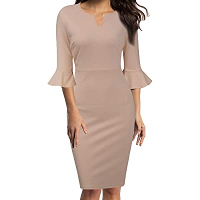 WOOSUNZE Womens Flounce Bell Sleeve Office Work Casual Pencil Dress at Women's Clothing store