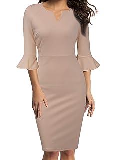 407cae29aeb5 WOOSUNZE Womens Flounce Bell Sleeve Office Work Casual Pencil Dress