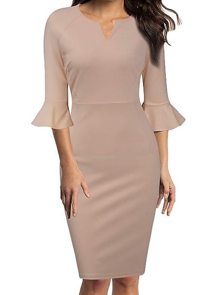 e2e10b1ba4a49 WOOSUNZE Womens Flounce Bell Sleeve Office Work Casual Pencil Dress