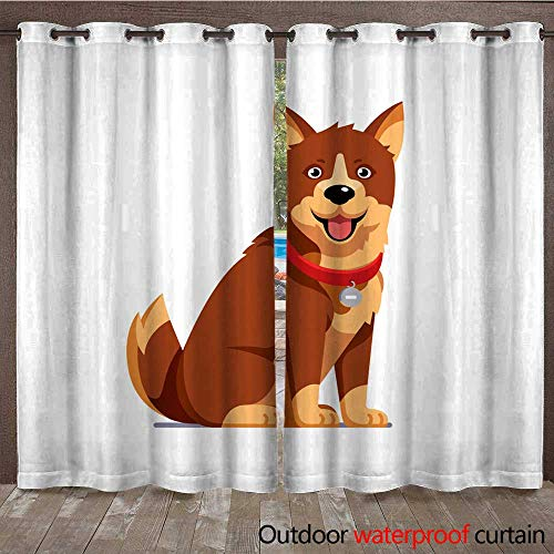 RenteriaDecor 0utdoor Curtains for Patio Waterproof Domestic pet Wearing red Collar with tag Brown Sitting Dog Flat Style Vector W96 x L108