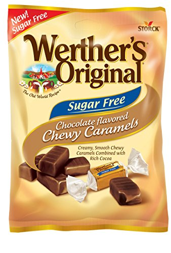 Chewy Chocolate Caramel - WERTHER'S ORIGINAL Sugar Free Chocolate Chewy Caramels, Sugar Free Candy, Bulk Candy, Caramel Candy, Individually Wrapped Candy, Low Carb Candy, 2.75 Ounce Bags (Pack of 12)
