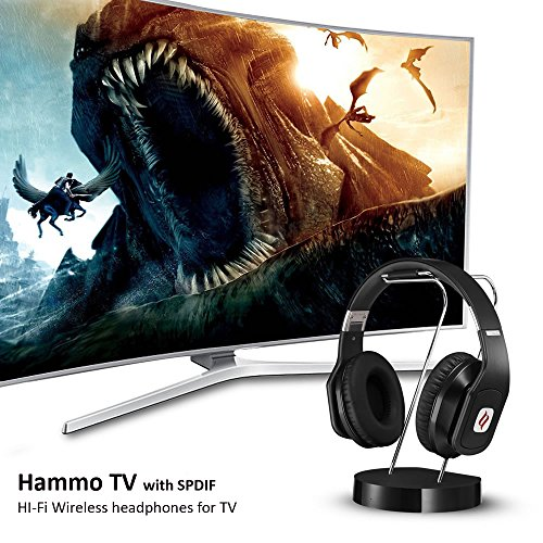 513N4IKX4bL - Noontec Hammo TV Wireless Headphones for TV Digital Bluetooth with Docking Base Low-Latency Anti-Interference 50 Hours Long Battery Life