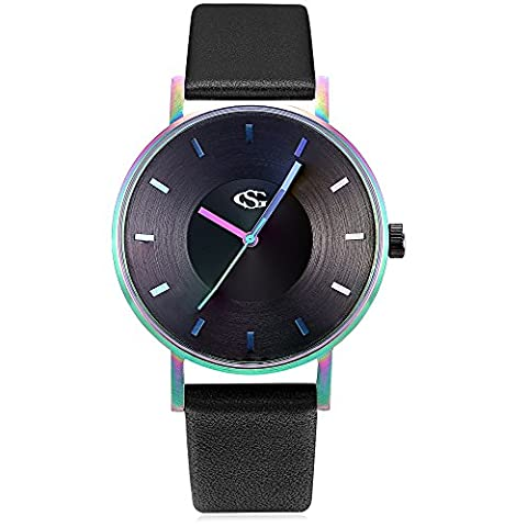 GEORGE SMITH Unisex Unique Analog Quartz Waterproof Business Casual Leather Band Wrist Watch with Simple Fashion Classic (Rainbow (Watch Waterproof Prime)