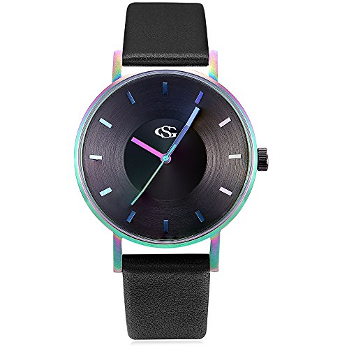 GEORGE SMITH Unisex Unique Analog Quartz Waterproof Business Casual Leather Band Wrist Watch with Simple Fashion Classic (Rainbow Black)