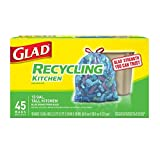 Glad Tall Kitchen Drawstring Recycling Bags - 13 Gallon Blue Trash Bag - 45 Count Each (Pack of 4) .2 BUNDLES =360 COUNT