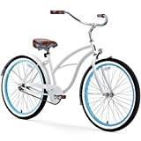 sixthreezero Women's 1-Speed 26-Inch Beach Cruiser Bicycle, BE White/Blue
