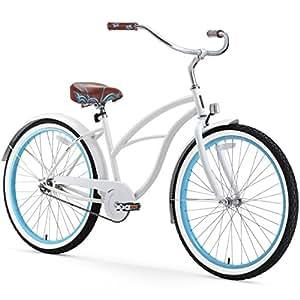 sixthreezero Women's 1-Speed 26-Inch Beach Cruiser Bicycle, BE White/Blue