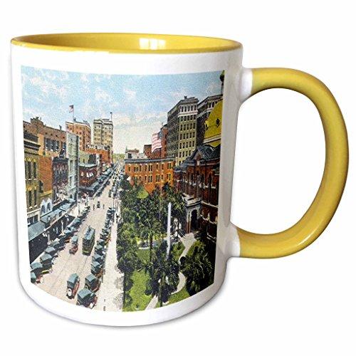 3dRose Sandy Mertens Florida - Tampa, FL Looking North on Franklin Street (Vintage) - 11oz Two-Tone Yellow Mug - Outlets Tampa Fl