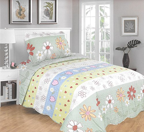 MarCielo 2 Piece Kids Bedspread Quilts Set Throw Blanket for Teens Boys Girls Bed Printed Bedding Coverlet, Twin Size (Green Floral) - Girls Floral Quilt