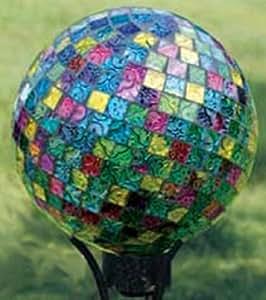 """CC Outdoor Living Jewel Tone 10""""Vibrant Art Glass Mosaic al aire libre Patio Jardín mirando bola"""